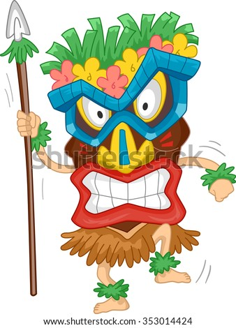 Illustration of a Native Man Wearing a Tiki Mask - stock vector