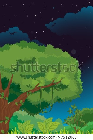 Illustration of a nature background at night