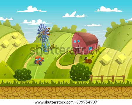 Illustration of a nature landscape ,with green hills and fields, vector unending background with separated layers for game.