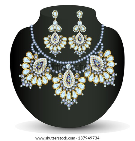 illustration of a necklace and earrings with pearls - stock vector