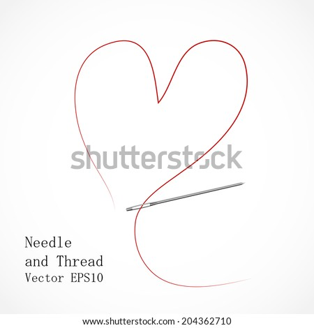 Illustration of a Needle and Thread in Heart Shape - stock vector