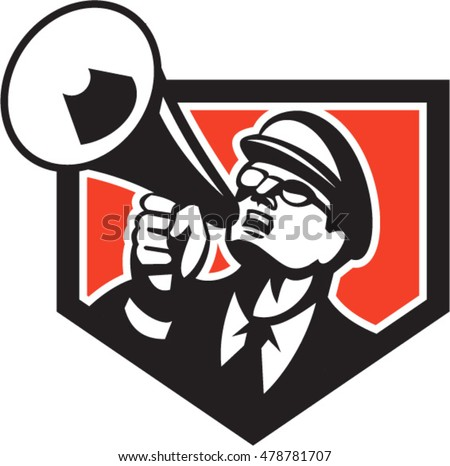 Illustration of a nerd man wearing hat and eye glasses looking up shouting through megaphone set inside shield crest on isolated background done in retro style.