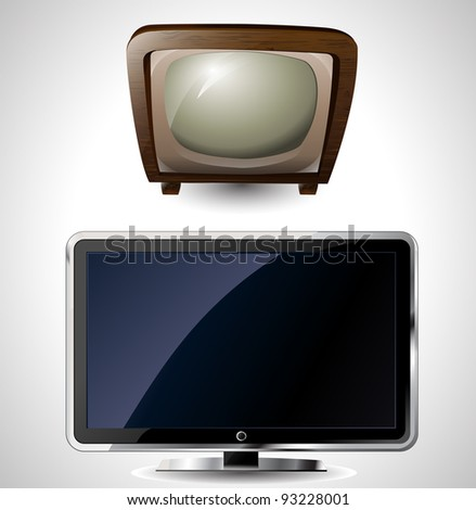 illustration of a new and old television