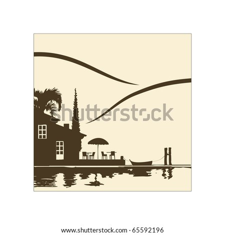 Illustration of a nice restaurant by the lake