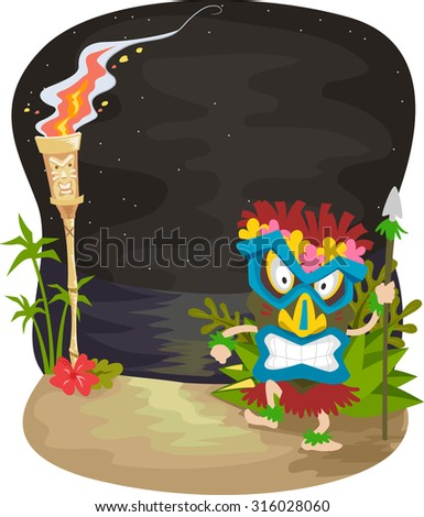 Illustration of a Night Scene with a Man Wearing a Tiki Mask Standing Near a Tiki Torch - stock vector