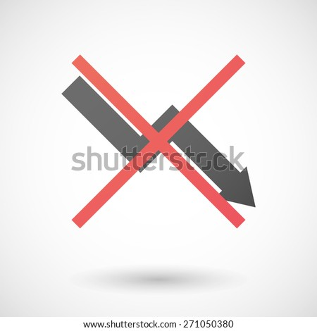 Illustration of a not allowed icon with a graph - stock vector