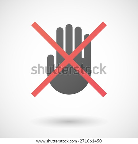 Illustration of a not allowed icon with a hand - stock vector