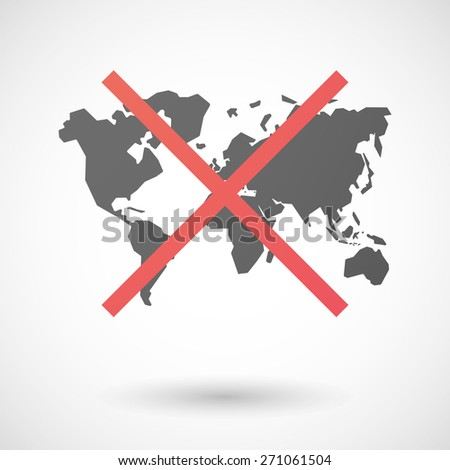 Illustration of a not allowed icon with a world map - stock vector