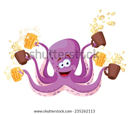 illustration of a octopus with beer