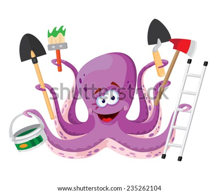 illustration of a octopus with instruments - stock vector