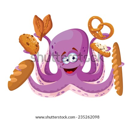 illustration of a octopus with pastry - stock vector