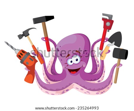 illustration of a octopus with tools