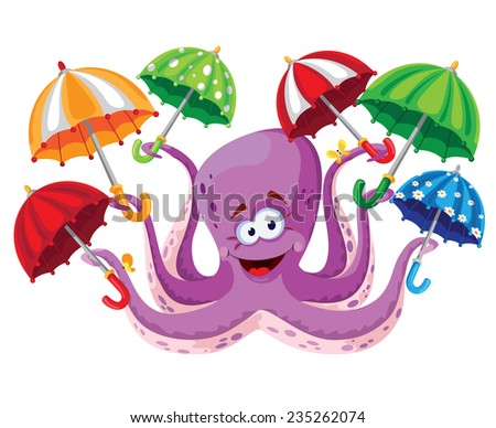 illustration of a octopus with umbrella - stock vector