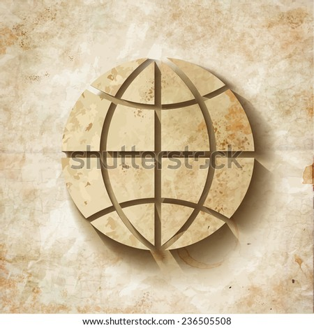 Illustration of a old  shabby Paper Globe - stock vector