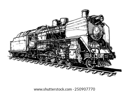 illustration of a old steam locomotive stylized as engraving - stock vector
