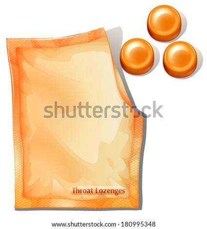 Illustration of a pack of orange throat lozenges on a white background - stock vector
