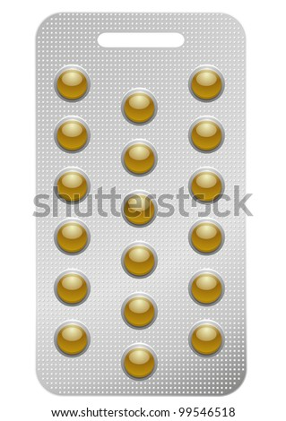 illustration of a pack of round pills, isolated on white - stock vector