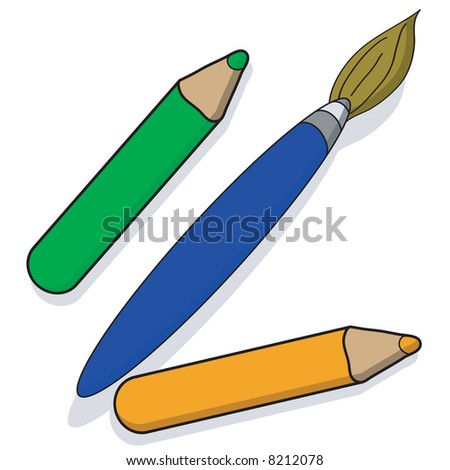Illustration of a paintbrush and pencils - stock vector