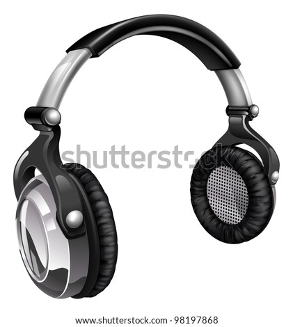Illustration of a pair of audio music headphones