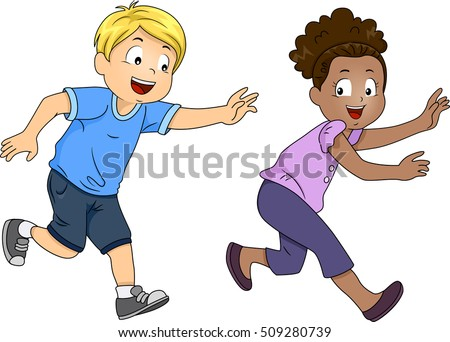 Illustration Pair Preschool Kids Happily Playing Vectores ...