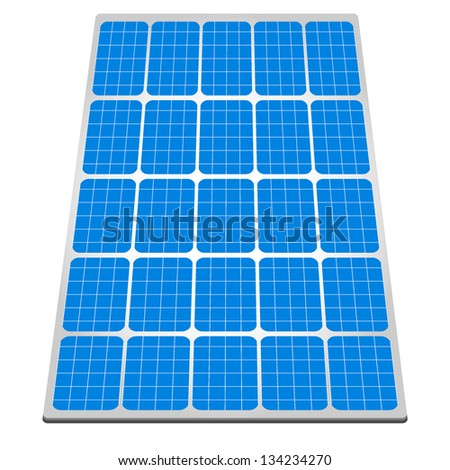 illustration of a panel with solar cells - stock vector