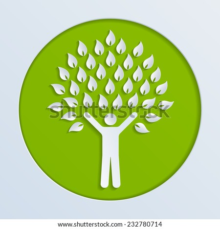 Illustration of a paper human tree - stock vector