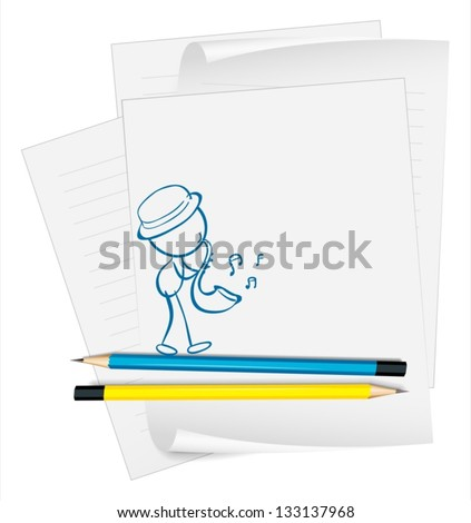 Illustration of a paper with a sketch of a musician on a white background