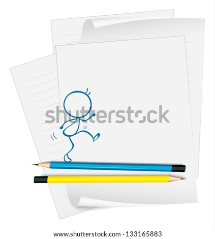 Illustration of a paper with a sketch of a person walking on a white background