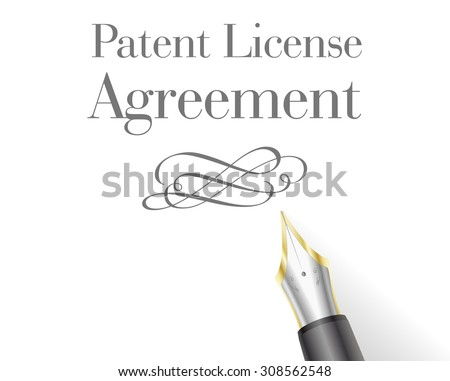 illustration of a Patent License Agreement Letter head with fountain pen - stock vector