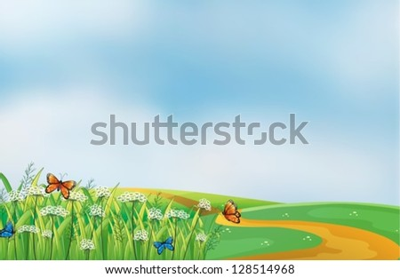 Illustration of a pathway at the hill - stock vector