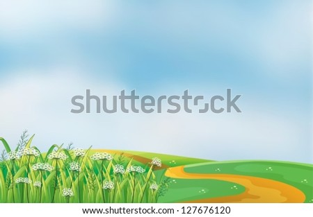 Illustration of a pathway at the hills - stock vector