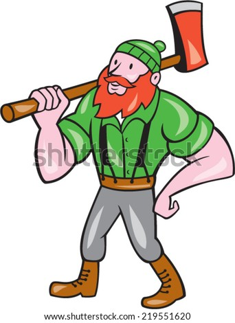 Illustration of a Paul Bunyan an American lumberjack sawyer forest holding an axe on shoulder looking up to side on isolated background done in cartoon style.