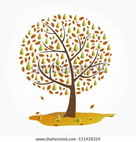 Pear Tree Cartoon Illustration of a Pear Tree in