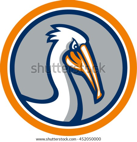 Illustration of a pelican head looking down viewed from the side set inside circle on isolated background done in retro style.