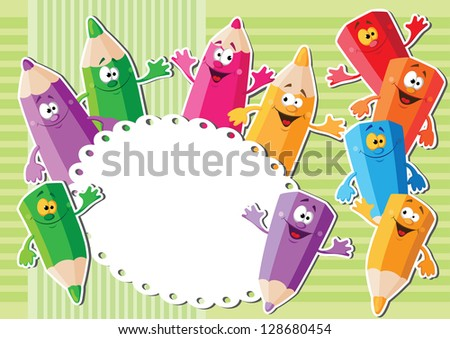 illustration of a pencils sticker background - stock vector