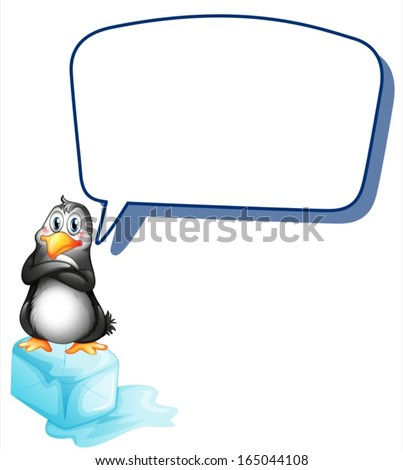 Illustration of a penguin above an ice cube with an empty callout on a white background - stock vector