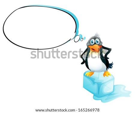 Illustration of a penguin standing above an ice cube on a white background - stock vector