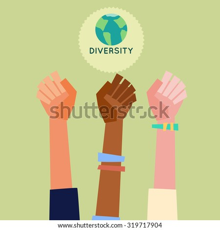 Illustration of a people's hands with different skin color together. Race equality, diversity, tolerance illustration. Flat design style. - stock vector