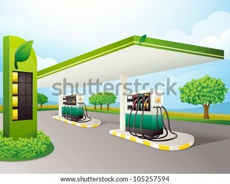 illustration of a petrol pump on a road - stock vector