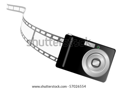Illustration of a photo camera and filmstrip - stock vector