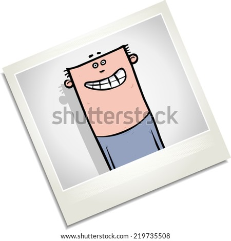 Illustration of a photo of a photo of a happy looking young man. - stock vector