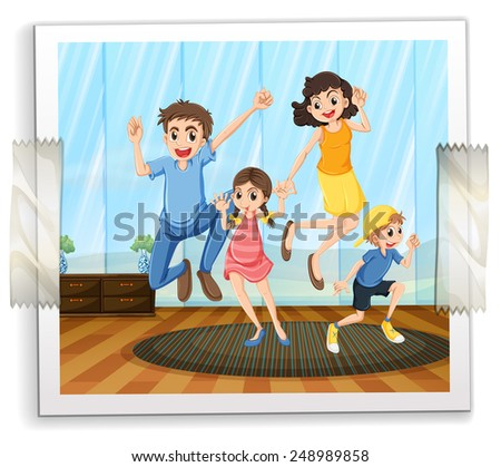 Illustration of a photograph of a family - stock vector