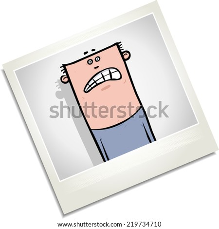 Illustration of a photograph of a worried looking young man. - stock vector