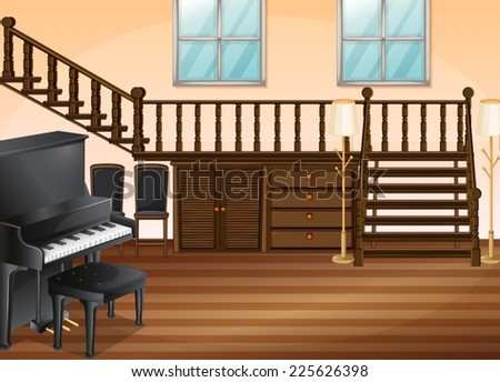 Illustration of a piano in a living room - stock vector