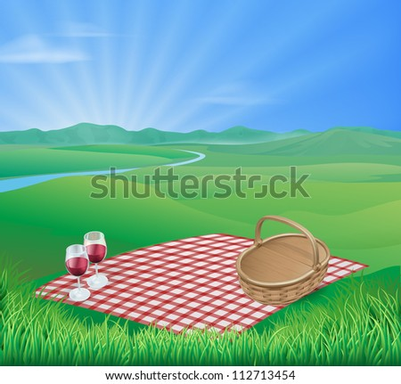 Illustration of a picnic in a beautiful rural scene with wine glasses and wicker basket - stock vector