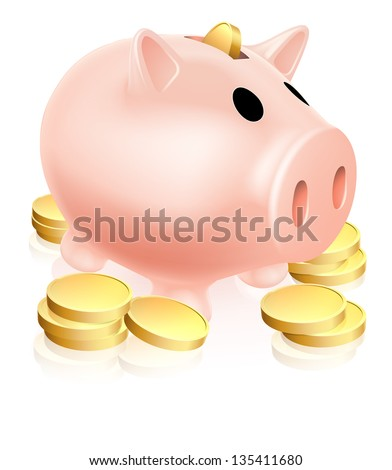 Illustration of a piggy bank money box with gold coins around it - stock vector