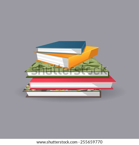 Illustration of a pile of beautiful colorful books - stock vector