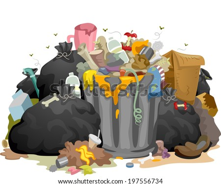 Illustration of a Pile of Decaying Garbage Left Lying Around - stock vector