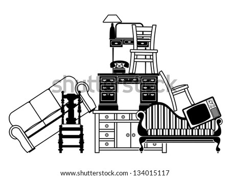 illustration of a pile of furniture could be used for home insurance related or house