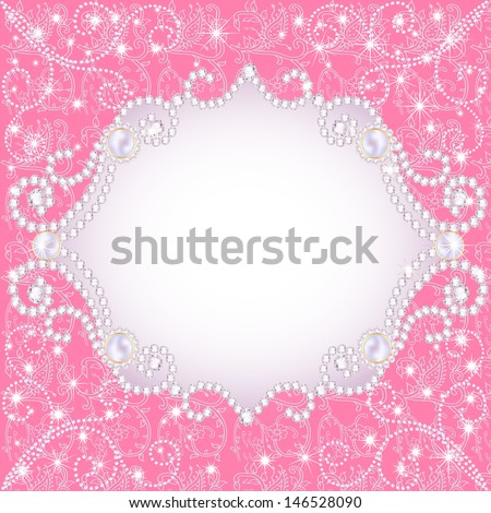 illustration of a pink background with pearls, for inviting - stock vector